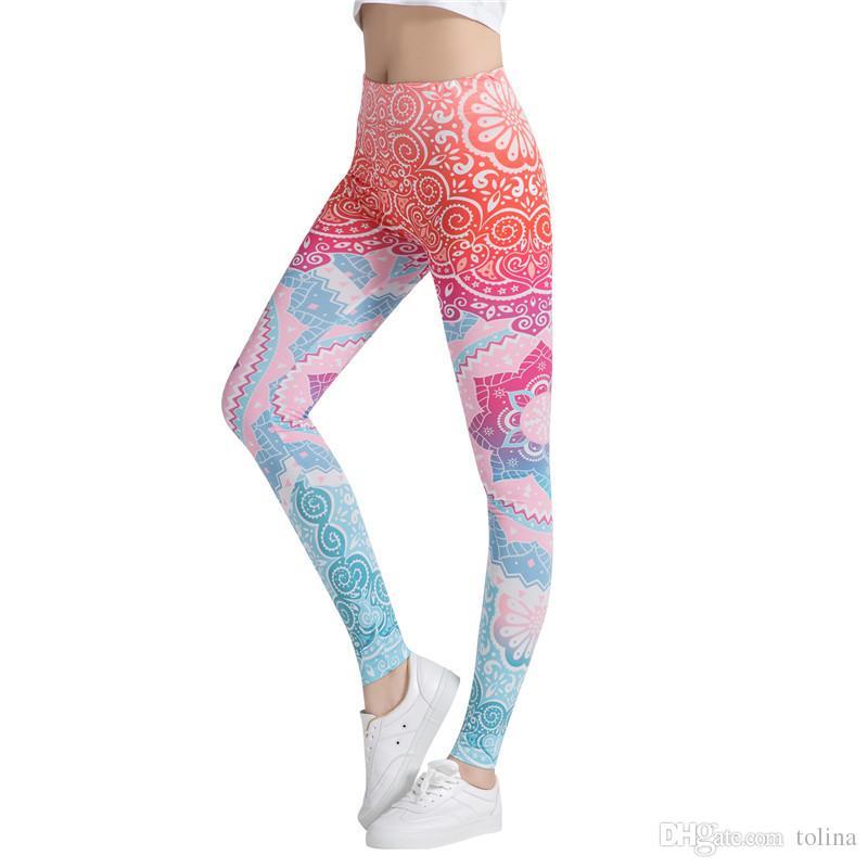 7722b5be71b3c 2018 New Honeycomb Letter Printed Women Fitness Leggings Skinny High ...