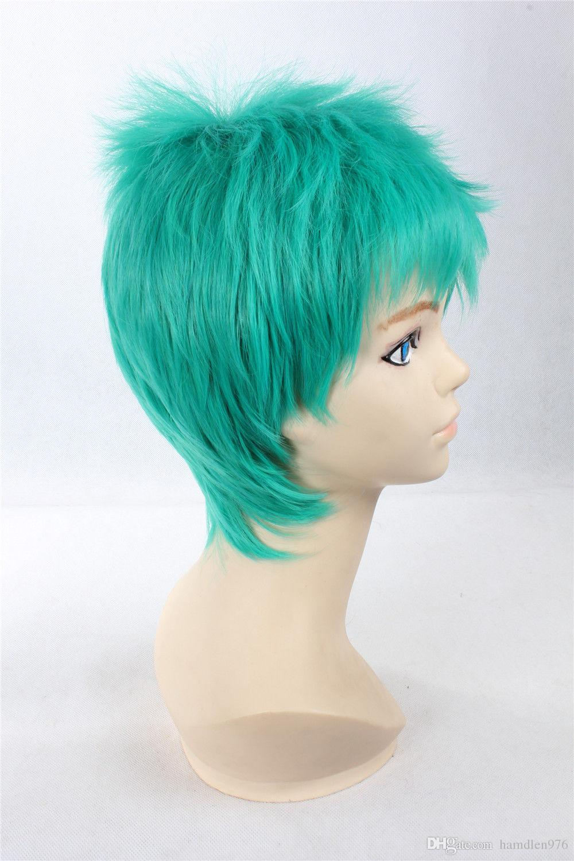 Freie shippingHeat beständige kurze grüne flaumige Cosplay Perücke Haar