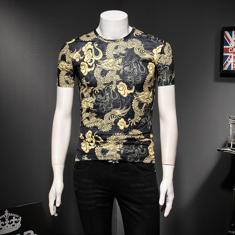 826346cdf MIXCUBIC 2018 New Fashion Summer Chinese Style Golden Dragon Printed T Shirt  Men Casual Slim Cool Printed T Shirts Size M 5XL Online Buy T Shirts Tna  Shirts ...