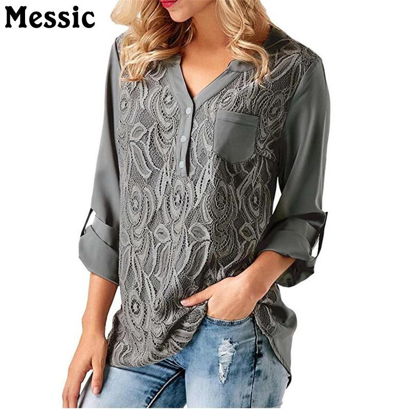 78638459b58 2019 Embroidery Lace Chiffon Blouse Shirt Women Tops 2018 Autumn Winter  Fashion Sexy Casual Long Sleeve Ladies Top Plus Size S 3XL From Benedica