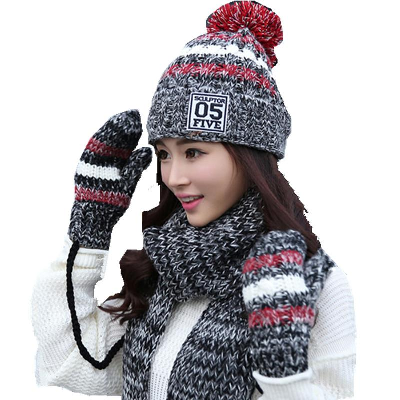 c2c5ba6171e Winter Warm Plush Thick Beanie Wool Ball +long Knit Scarf +gloves 05 Three  Pc Set Girls Fashion Wear Accessories Collar Cap Hats Scarf Hat   Glove  Sets ...