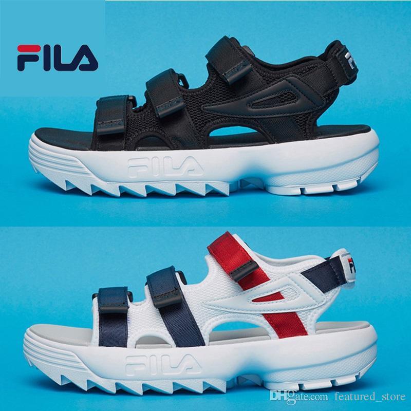 b2efe16bbbabb1 2018 New Arrival FILA II 2 Sandals Hot Men Women Black White Red ...