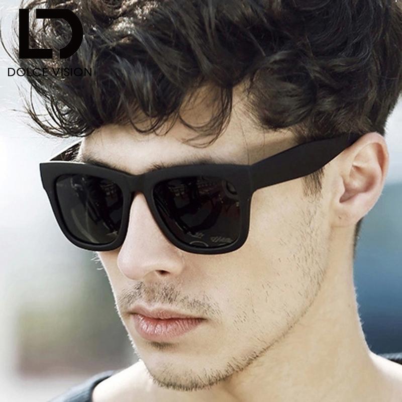 846ec51388946 Compre DOLCE VISION Polarized Óculos De Sol Dos Homens Da Marca Designer  Moda Óculos De Sol Para Homens Preto Fresco Espelho Shades Oculos Masculino  ...