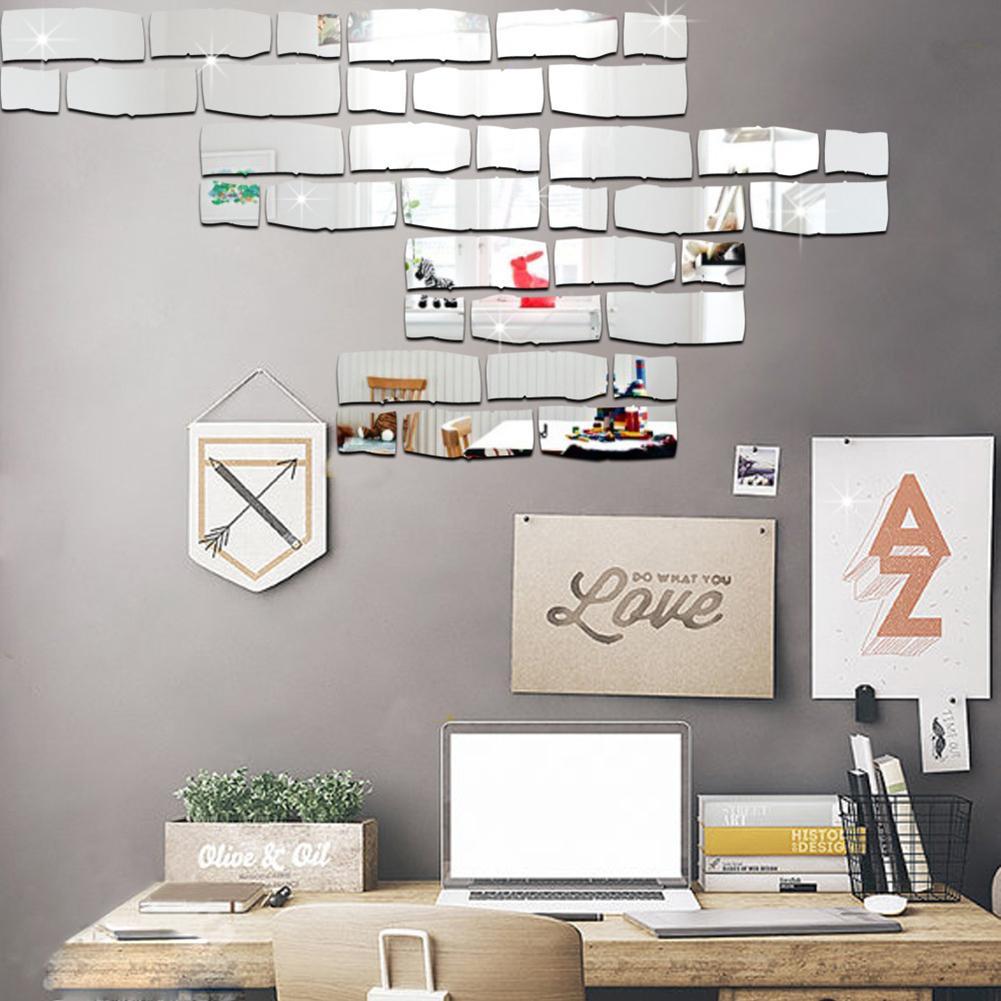 Diy mirror wall stickers wall mirror kids room decoration eco friendly ps board brick sticker for Lots specchio