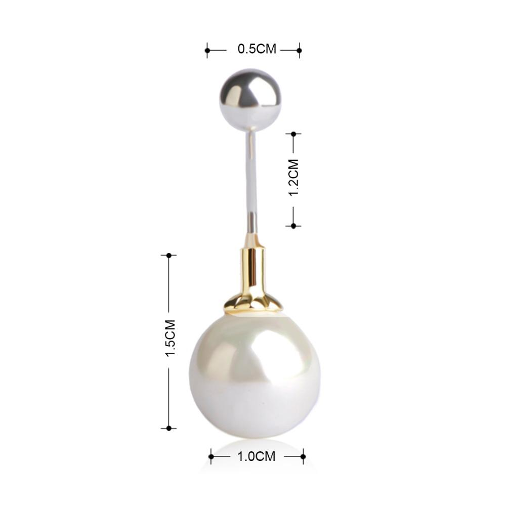 Wholesale Big White Pearl Navel & Belly Button Rings Gold-color Body Jewelry Ball Piercings For Women Girls Holiday Beach