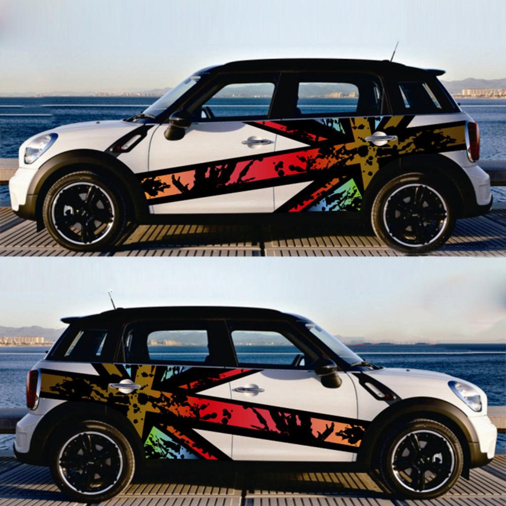 2pcs Union Jack Car Side Door Skirt Decals Body Sticker Decor For Mini Cooper F54 F55 F56 F60 R55 R56 R60 R61 Car Styling Accessories