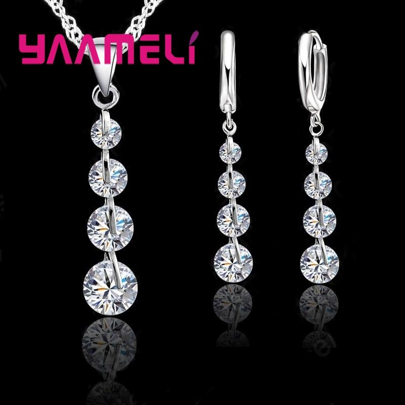 YAAMELI Exquisite Real 925 Sterling Silver Bridal Jewelry Sets Long ... 1929564c4f7a