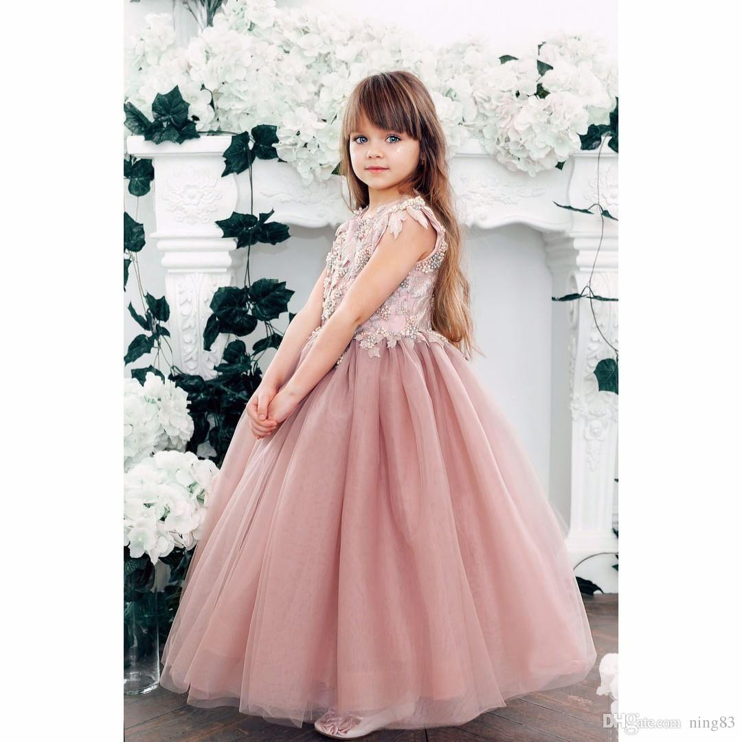 8ee98a5a840 Rose Gold Sequins Blush Tutu Flower Girls Dresses Puffy Skirt Full Length  Little Toddler Infant Wedding Party Communion Forml Dress Bohemian Flower  Girl ...