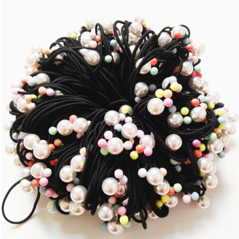 Knotted Pearl Nylon Headbands Ponytail holders bows Elastic Hair Ties For Girls Children Hair Accessories