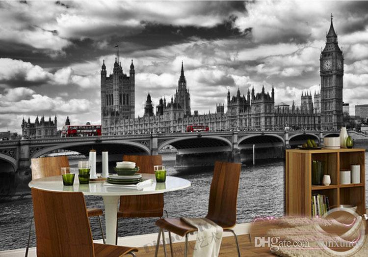 도매 영국 도시 풍경 blackwhite 빅 벤 사진 벽화 배경 3d 벽지 벽화 비닐 프레스코