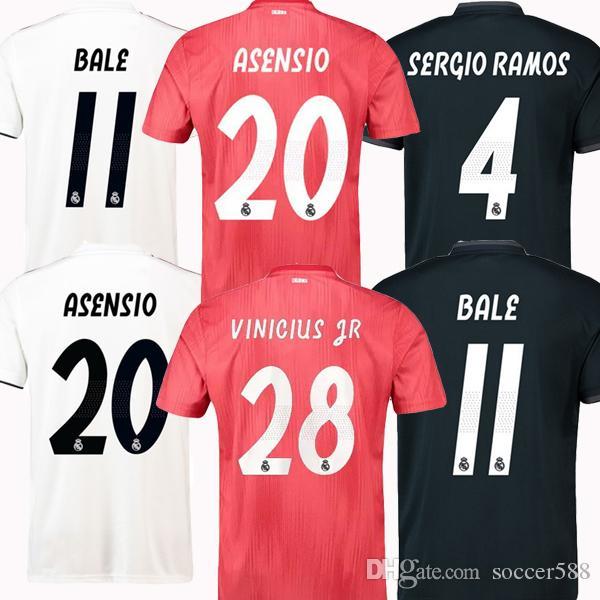 2018 2019 Real Madrid Camiseta De Fútbol KROOS ASENSIO MODRIC Camiseta De  Fútbol Jersey Fútbol 18 19 BALE SERGIO RAMOS MARCELO VINICIUS JR Real Madrid  ... b6297f2a1966b