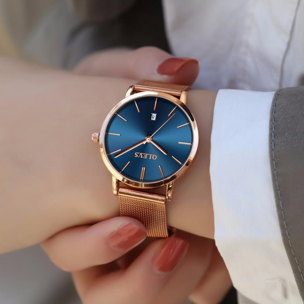 f49011009dd Compre OLEVS Aço Subiu Relógio De Ouro Das Mulheres Relógios Top Marca De  Luxo Japão Quartz Movimento Ultra Fino Relógio Senhoras Calendário Montre  Femme De ...