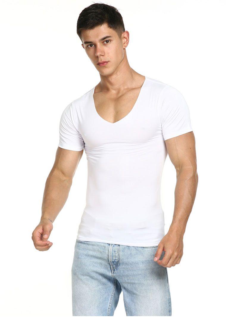 Sommer Baumwolle T-Shirt Kurzarm T-Shirt männlich nahtlose V-Kragen dünnes T-Shirt Jugend festes Hemd unten