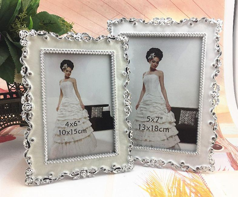 6710 White Resin Abs Inlaid Silver Side Rectangle Photo Frame For Bridal Gifts Wedding Photo Frame Style 2043