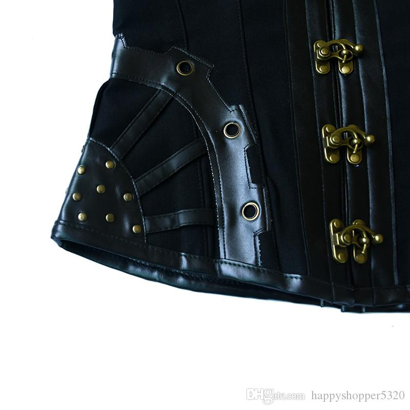Corsetto in pelle da donna Steampunk Gothic Bustier Plus Size Retro Tops Corsetti Corzzet Corselet con catene Sexy Waist Trainer Straitjacket