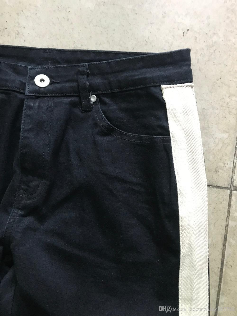 2018 Best version RETRO DENIM - jeans azul marino negros Side Stripe White raya costura Hip Hop Casual Streetwear jeans