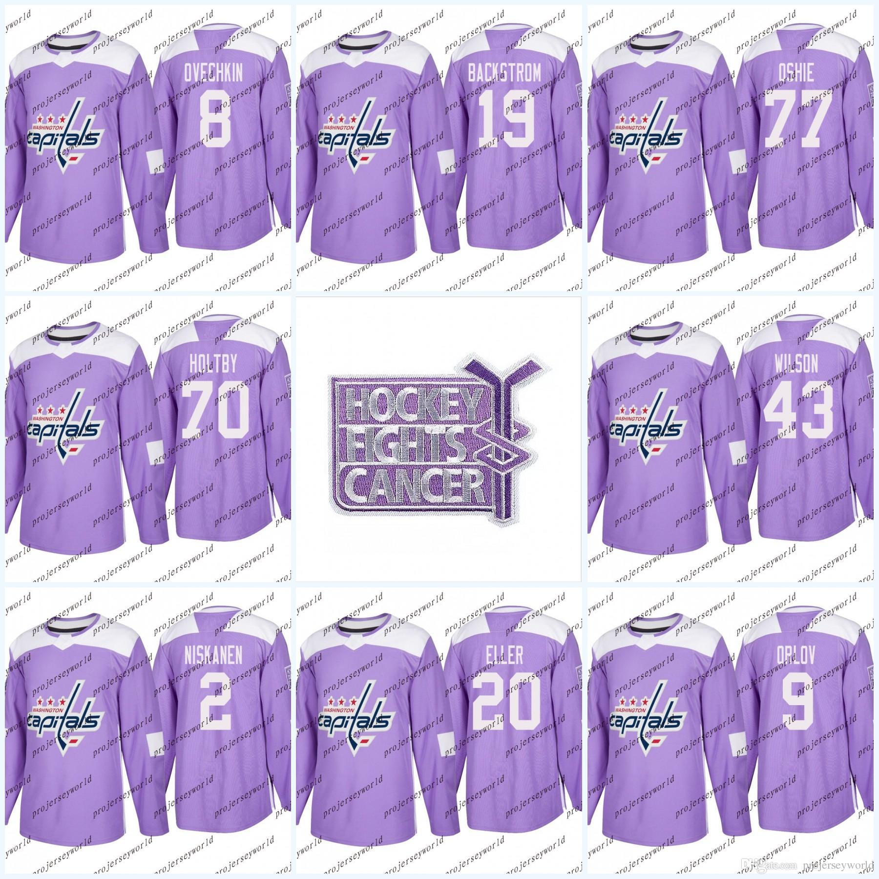 b9c30e3e2347 2019 Womens 8 Alex Ovechkin Purple Fights Cancer Practice Washington  Capitals 77 TJ Oshie 19 Nicklas Backstrom 70 Braden Holtby Hockey Jerseys  From ...