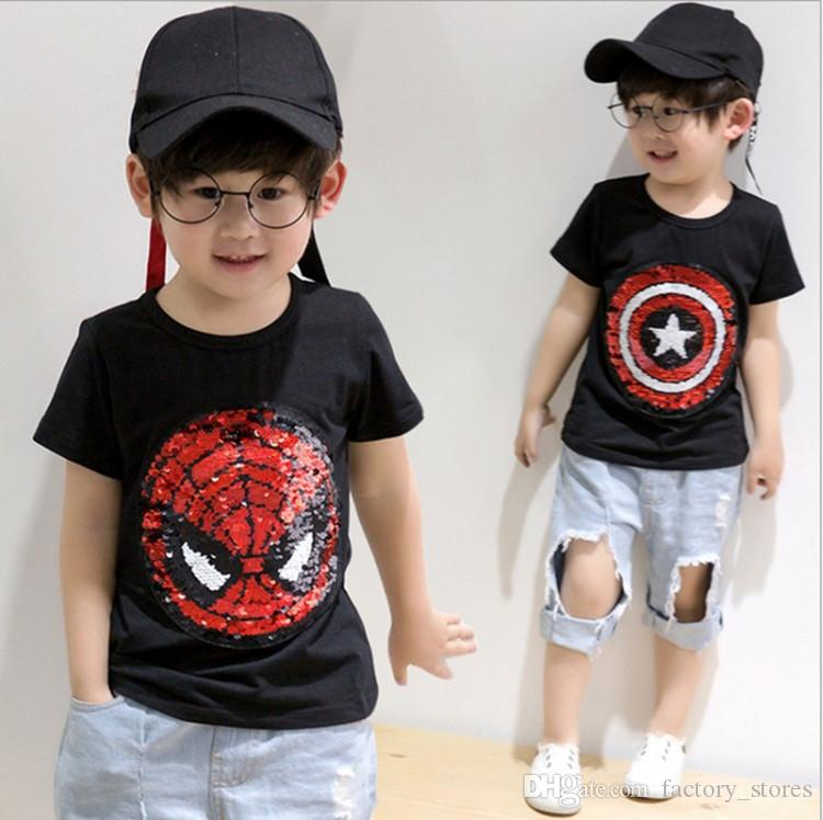 56e336c378c01 2019 Unisex Spiderman Captain Reversible Sequins T Shirt Bling Change  Design Tee Tops For Kids Boys Girls Summer Embroidered Reverse T Shirts  From ...