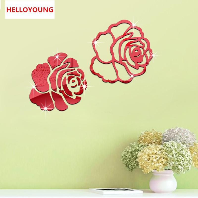 Acquista Fai Da Te Adesivi Murali Decorazioni A Specchio 3d Rose