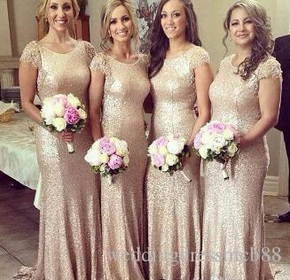 Gold Sequins Bridesmaid Dresses Cap Sleeve with O-Neck Sheath Style Long Cheap Bridesmaid Dresses for Wedding Party