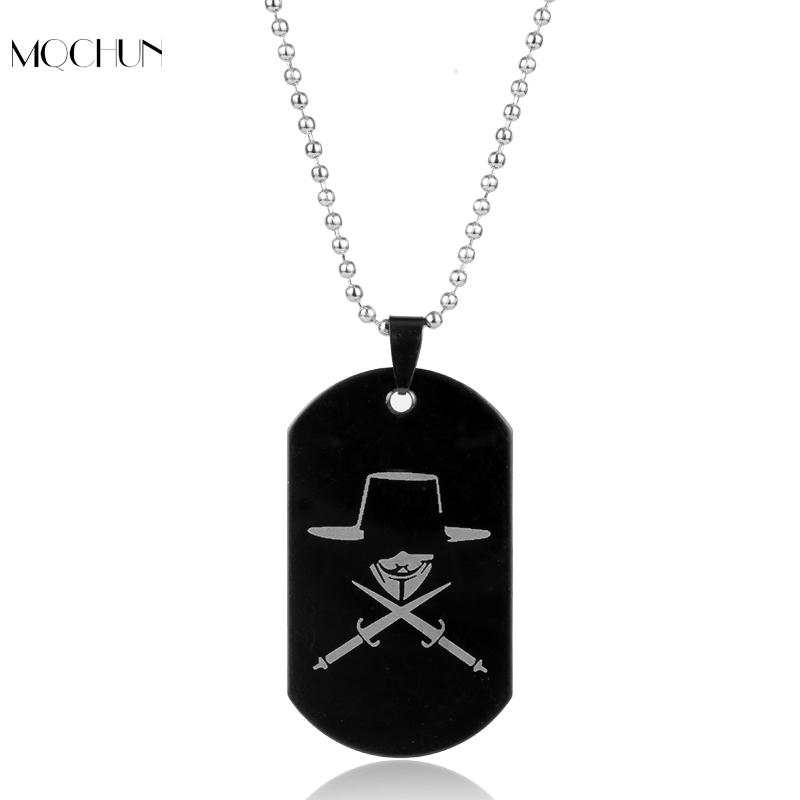 Movie Jewelry V for Vendetta ANONYMOUS Mask Dog Tag Pendant Necklace Great Hack Hacker Mask For Women Men Christmas Cosplay Gif