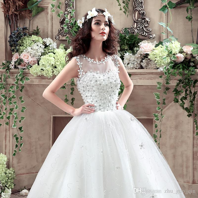 Red Retro Korean Style Big Long Train Wedding Dress 2018 Vestidos De Novia Real Photo Plus Size Princess Brid Lace with Flowers