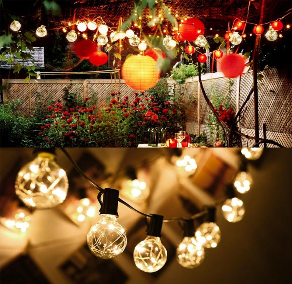 25ft G40 Globe String Lights Outdoor Led Patio Lights 25 Clear Vintage Lamps Copper Wire For Holiday Garden Wedding Party