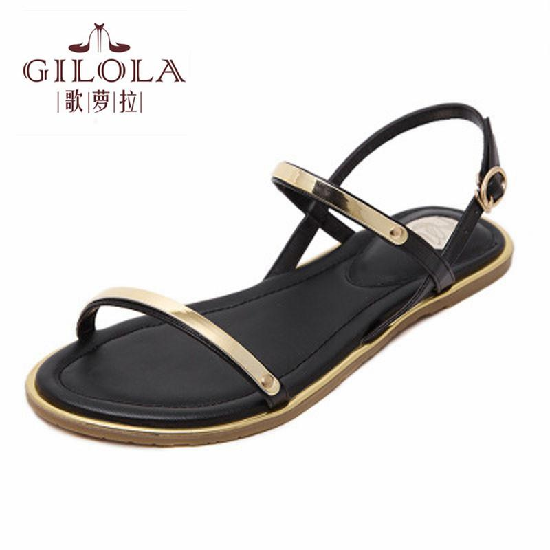 184317506ef45 New Flat Women S Sandals Ladies Leather + PU Women Sandals Summer Shoes  Woman Flats White Black Shoes  Y0730016Q Flat Sandals Strappy Sandals From  Baby911