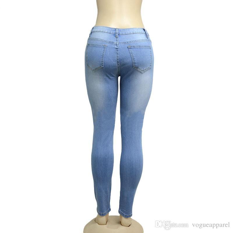 Petit ami trou déchiré Jeans Denim Vintage Jeans droites pour fille taille haute occasionnels pantalons femme Slim Jeans