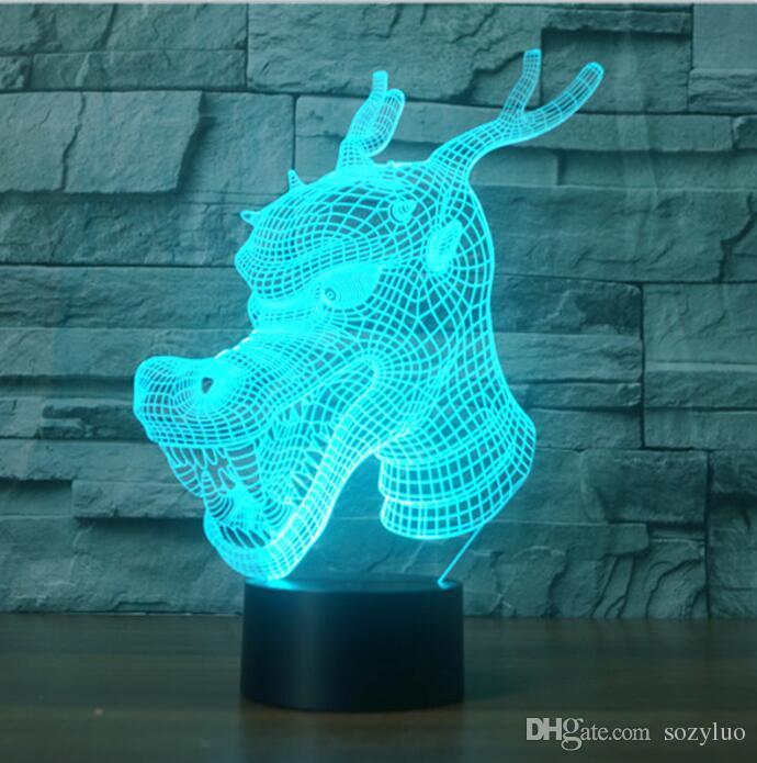 3D Дракон RGB цвет градиента переключатель сенсорный пульт дистанционного визуальный светодиодные ночные огни для детей настольная лампа Baby Sleeping декор друг Рождество детские игрушки
