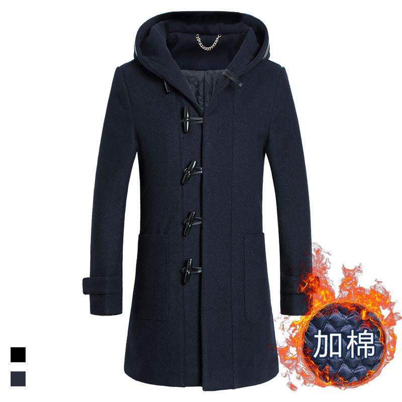 Autumn/Winter Men Thicker Warmer Silm fit Hooded Trench coat Overcoat Men Wool Peacoat Jacket Retro Horns Jaqueta Masculinas