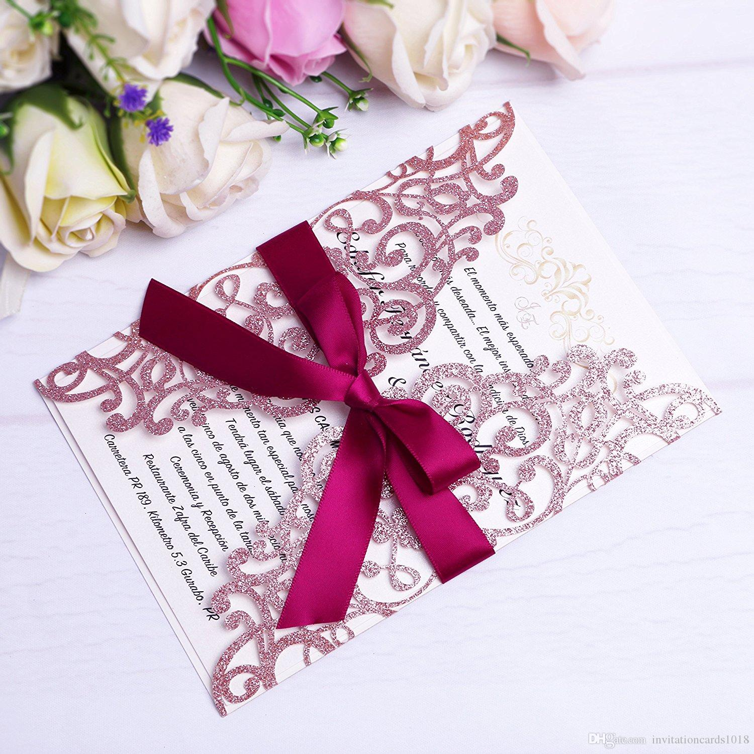 rose gold glitter laser cut invitations cards with burgundy ribbons