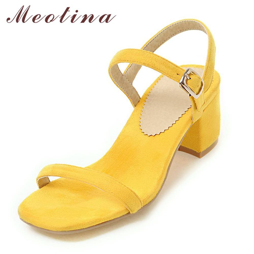 Meotina Design Shoes Women Sandals Summer 2017 Chunky Heel Sandals Open Toe  Buckle Party Mid Heels Yellow Red Plus Size 9 42 43 Sandals For Women Knee  High ... 01ae13f0a050