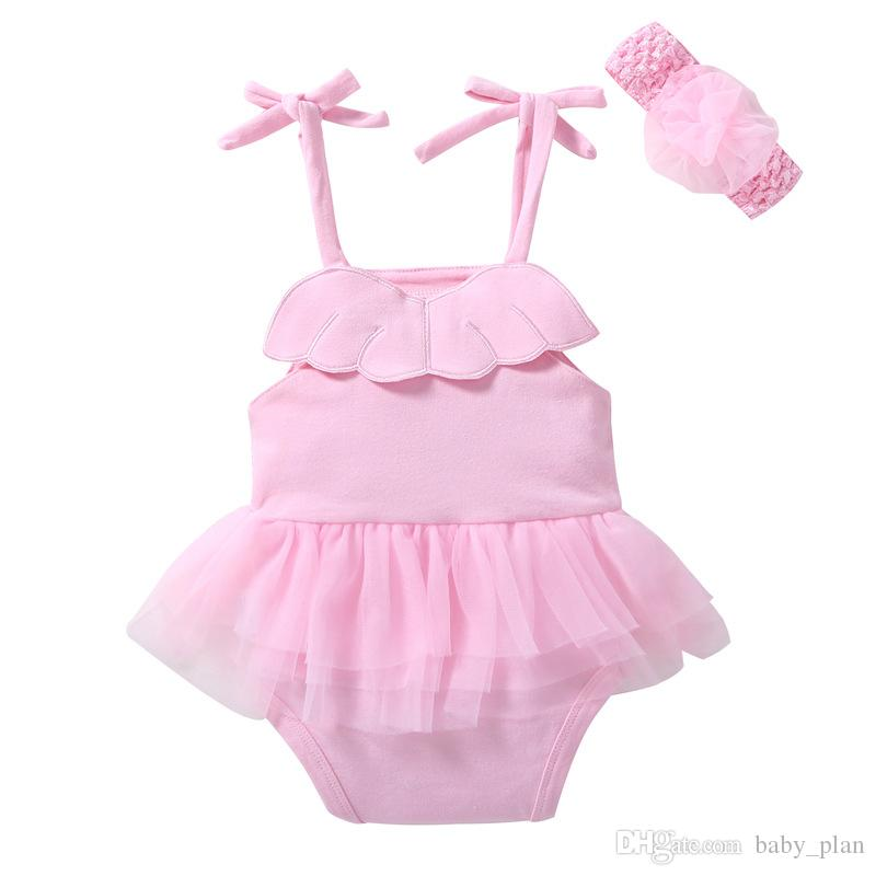 2018 Baby Girls Brace Skirt Tutu Dress Newborn Romper Headband Bodysuit Toddle Jumpsuit Slip Dress INS Infant Purple Pink Summer Clothes