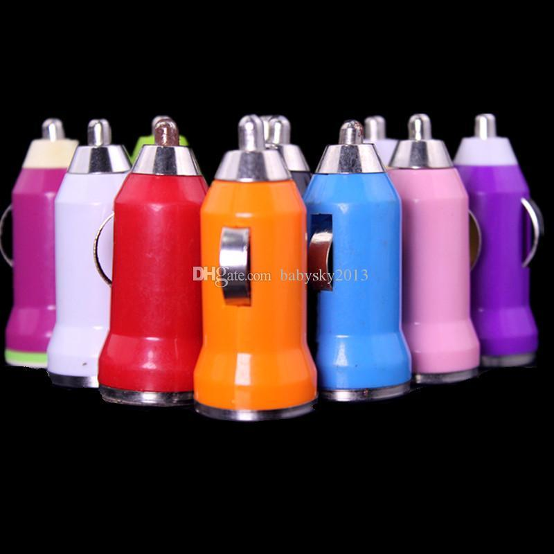 Car Charger Bullet Mini USB Iphone USB Adapter Cigarette Lighter For iphone 4 5 6 7 Headphone Speaker Mp3 Gps for samsung