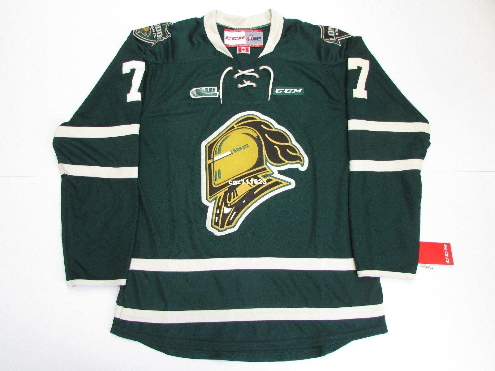 eeaf41e29 Cheap Custom MATTHEW TKACHUK OHL LONDON KNIGHTS GREEN CCM PREMIER ...