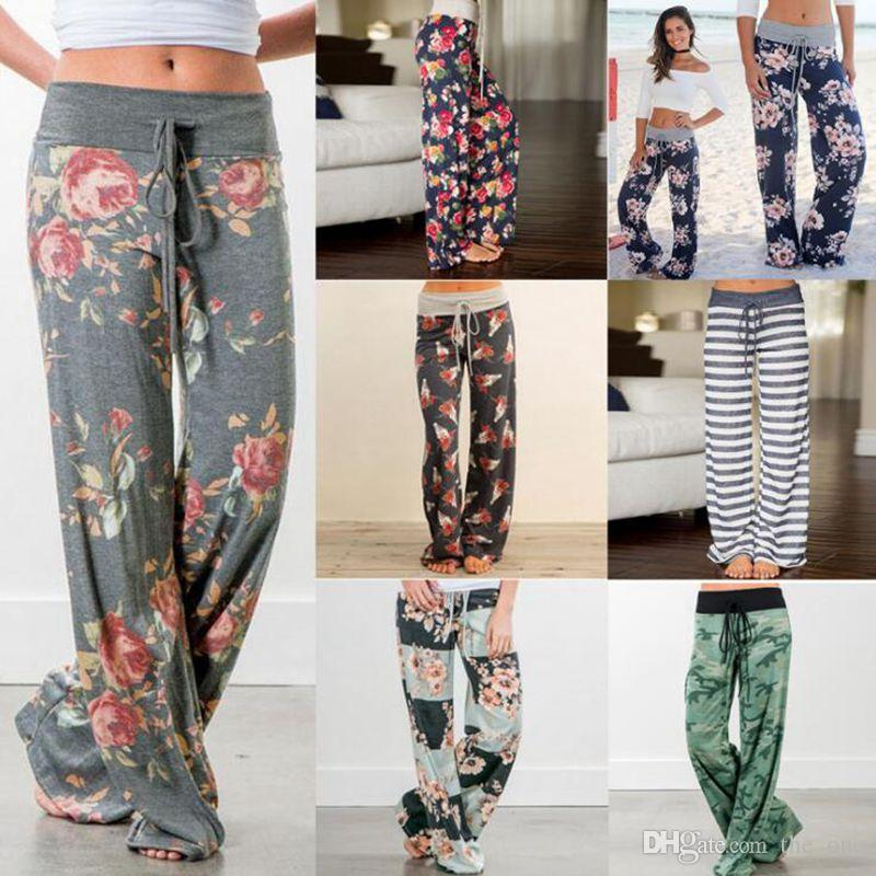 cdd7af9be3991 2019 Elastic Waist Floral Wide Leg Pants Loose Elastic Waist Pants  Drawstring Straight Trousers Long Pants For Women Maternity Bottoms From  The one