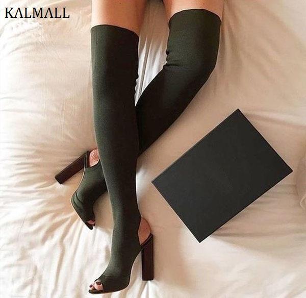 3615f007f38a KALMALL Beige Stretch Knit Women Thigh High Boots Block Heels Over The Knee  Boots Kim Kardashian Style High Heels Women Brown Boots Winter Boots For  Women ...