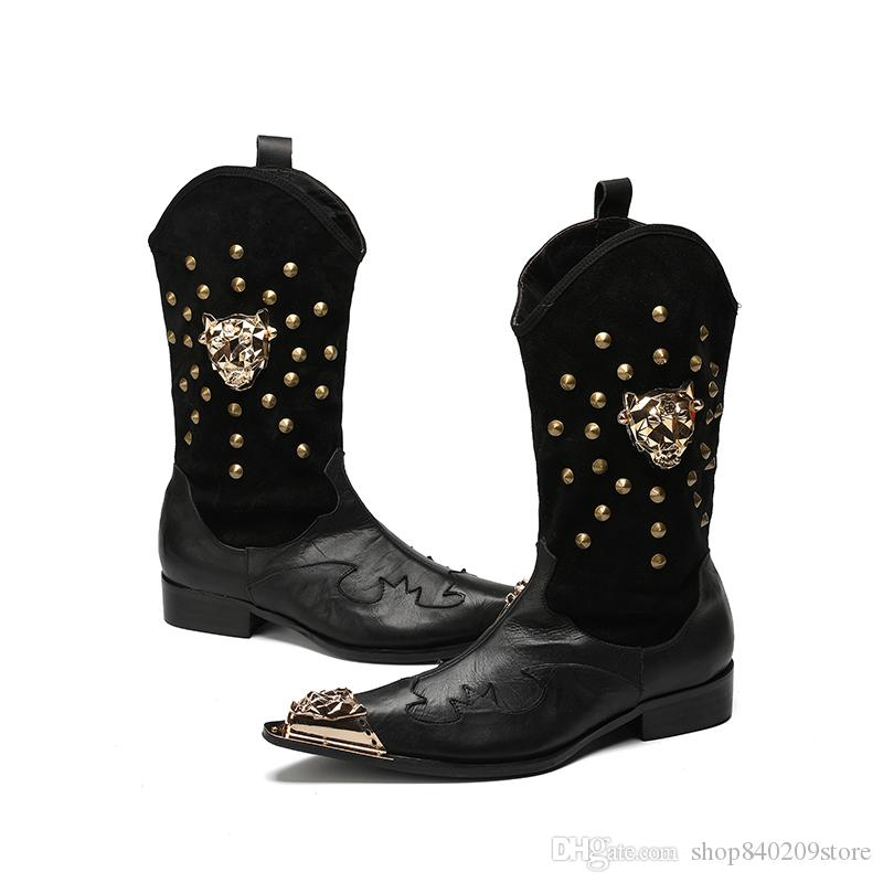 3c88cc0a514 Compre botas vaqueras para hombre talladas ocasionales de cuero jpg 800x800 Cuero  botas para hombre