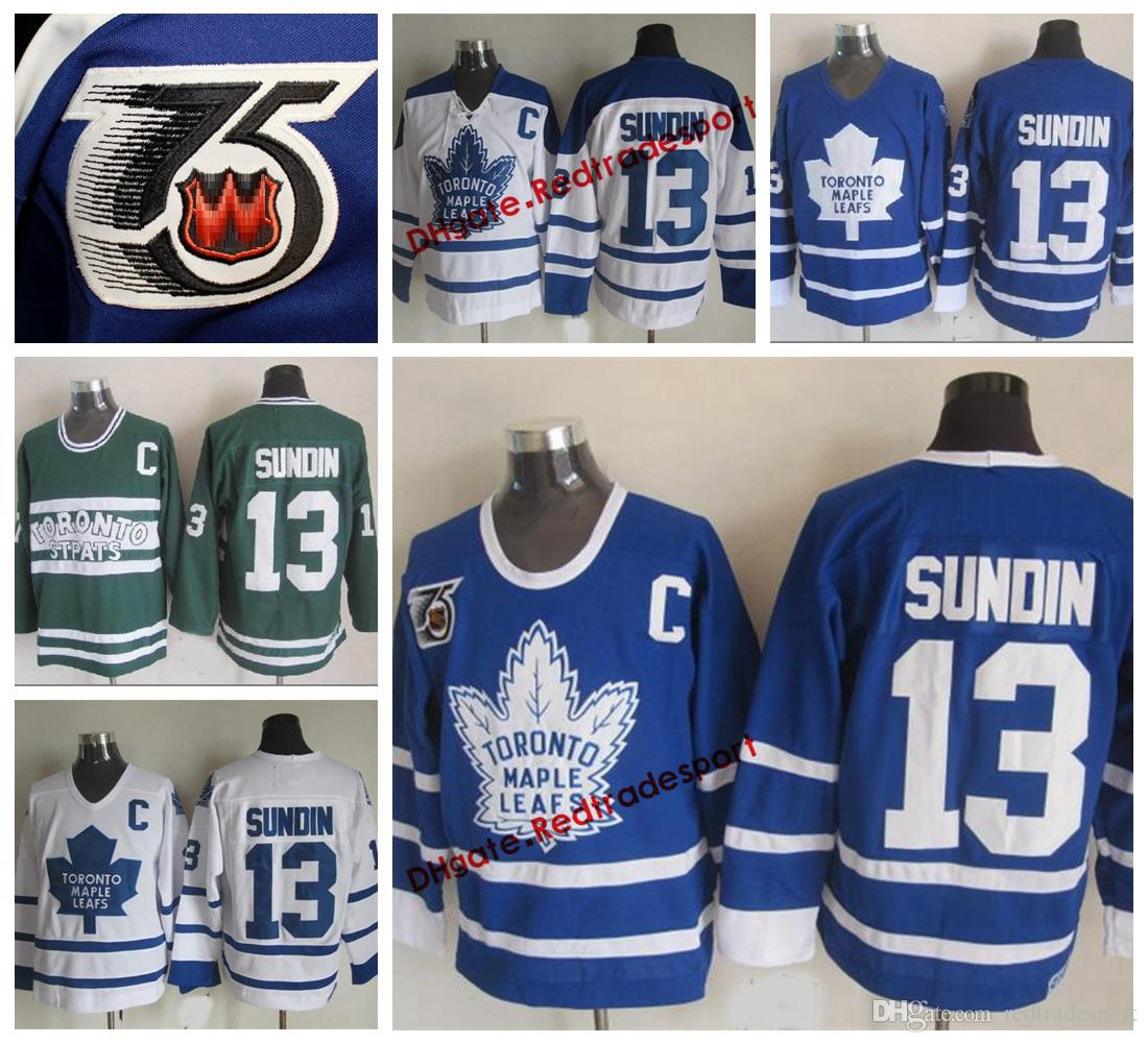 best service 4dbbb b8bc8 Vintage Toronto Maple Leafs Mats Sundin Hockey Jerseys Home Blue Mens  Classic 13 Mats Sundin Stitched 75th Anniversary Hockey Shirts C Patch