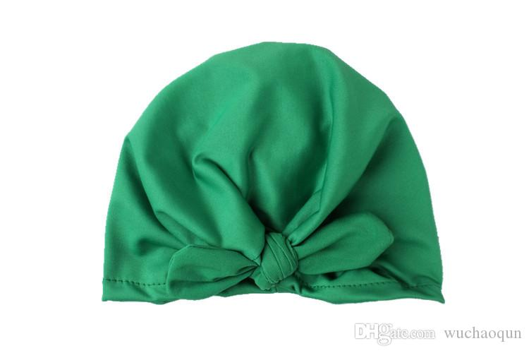 Новая Европа США детские шапки Кролик уха шапки тюрбан узел головы обертывания младенцев дети Индии шляпы уши крышка детское молоко Шелковая Шапочка