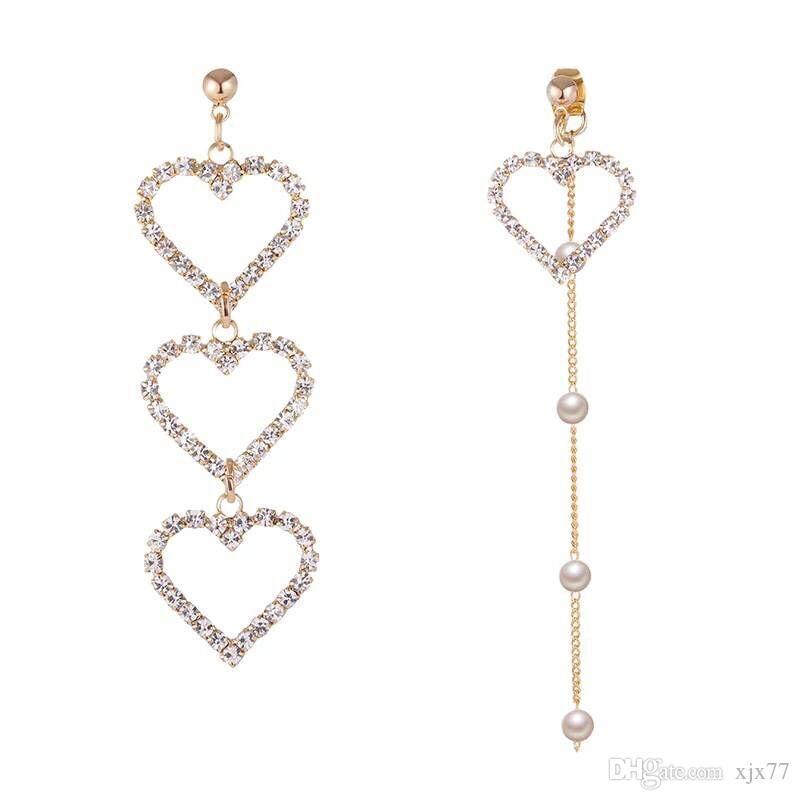 b69c1cc32 Girls' Strings of Love Earrings South Korea's Gentle Delicate Bright Zircon  Asymmetrical Earrings Ear Pierced Ears.