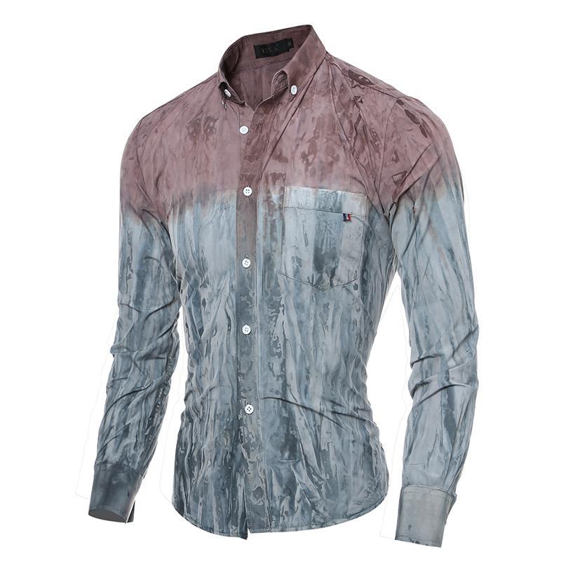 05956d7da93c Compre Homens Slim Fit Denim Camisas Masculinas Casual Roupas De Manga  Longa Homem Vestido De Moda Camisa Macia Patchwork M 2XL De Wangyicom, ...