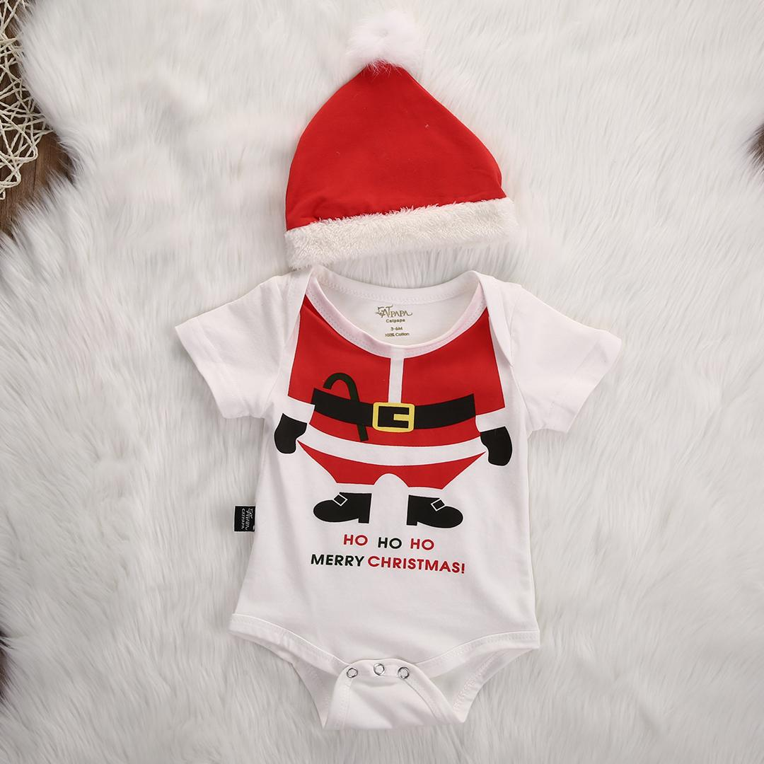 aa07189b2 Christmas Rompers Newborn Baby Girl Boy Santa Claus Winter Rompers +Hat  Short Sleeve XMAS Party Costume Clothing Y18102907
