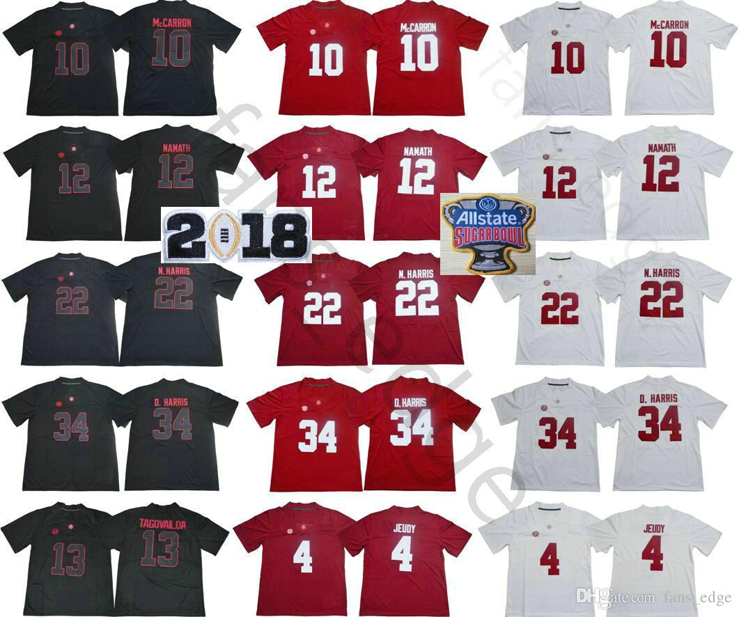 d935490bc 2019 NCAA Alabama Crimson Tide 13 Tua Tagovailoa 4 Jerry Jeudy 10 AJ  McCarron 12 Joe Namath 22 Najee N. Harris 34 Damien Harris College Jerseys  From ...