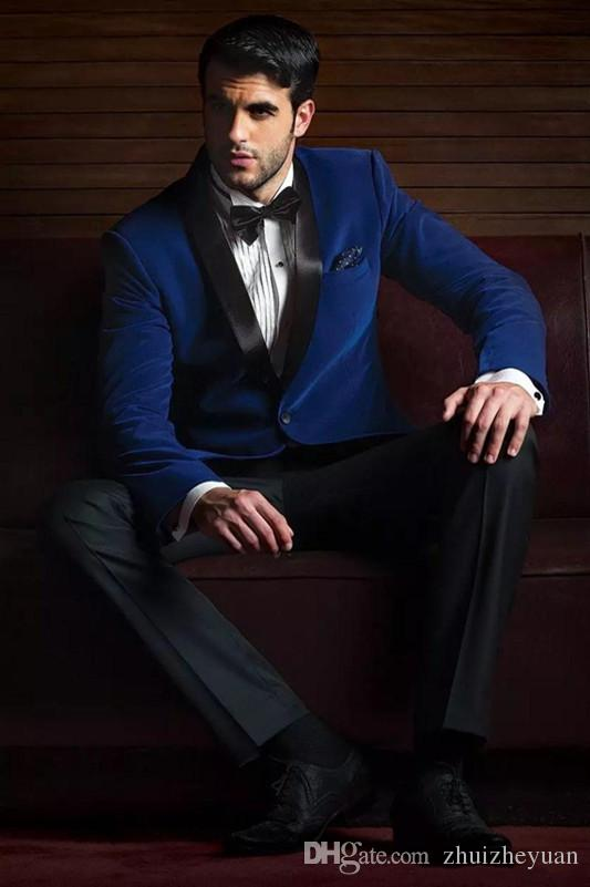 Classic Slim Fit Royal Blue Wedding Tuxedos Custom Made Groomsmen Suit Two Pieces Peaked Lapel Formal Prom Party SuitsJacket+Pants+Tie