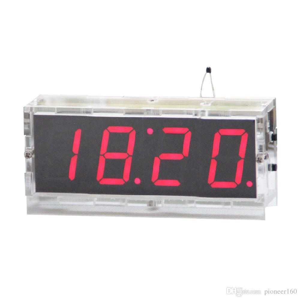 4 Digit LED DIY Electronic Digtal Alarm Clock Kit Module Large Screen Red  LED Practice Set