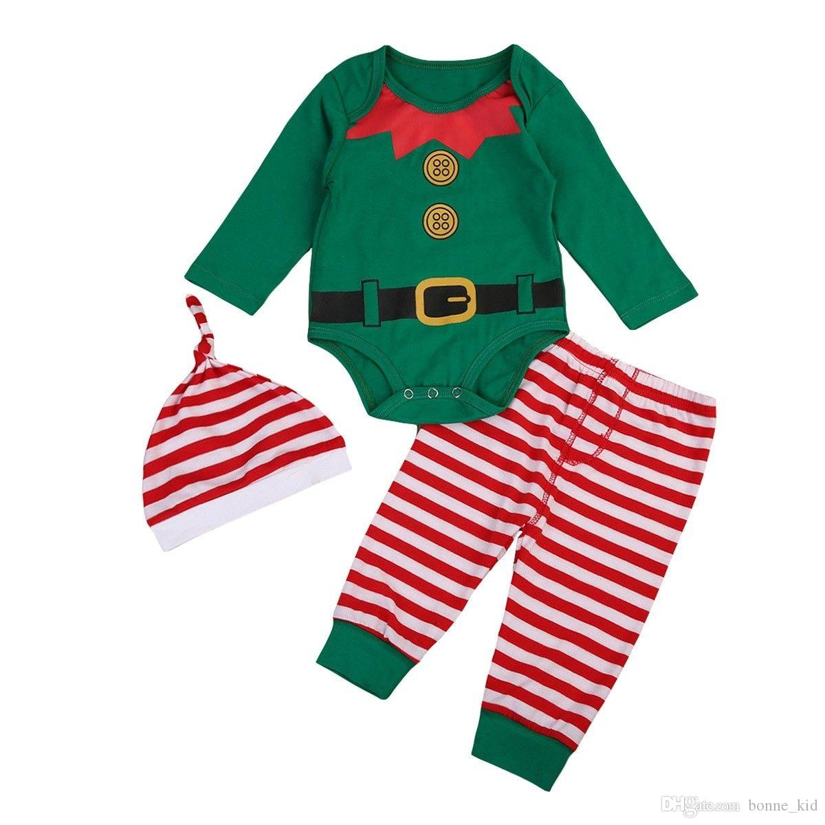 7b2f0d7432e2 2019 Christmas Gift For Baby Boy Romper+Pants+Hat A Set Striped Kid  Clothing Toddler Suit Boy Girl XMAS Green Oufits 0 24M From Bonne kid