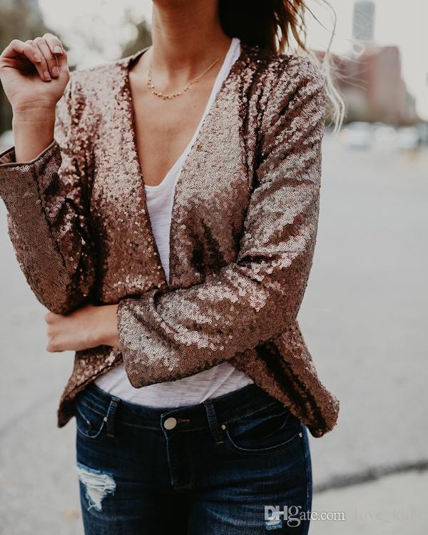 Wholesale- New Women Gold Sequin Jackets And Coats Long Sleeve Cardigan Spring Fashion Party black Jacket Clothing