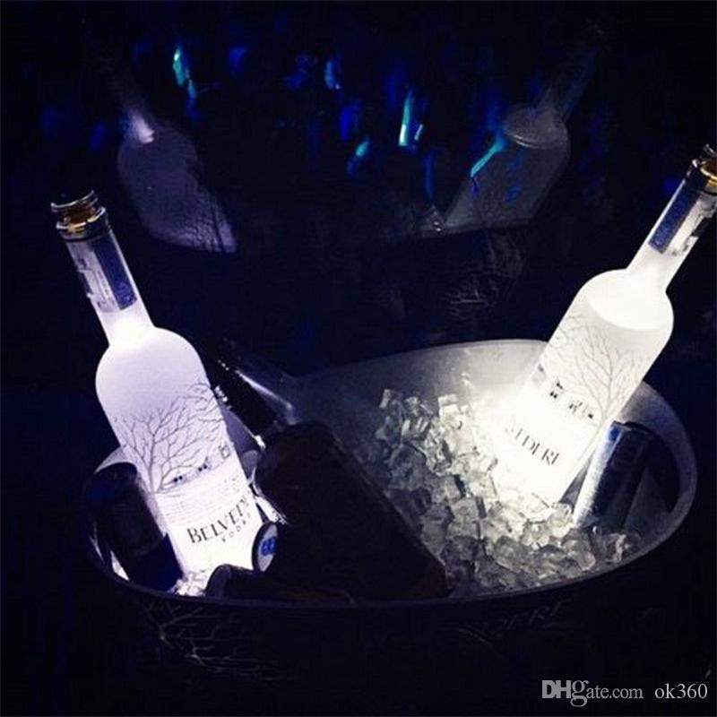 Super bright 3mm 4LED Flashing Lights Bulb Bottle Cup Mat Coaster LED glorifier mini glow stick For Clubs Bars Party